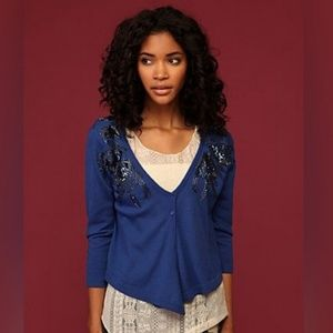 Free people blue beaded cropped cardigan, size S